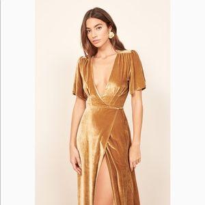 Reformation Tiffany short sleeve maxi wrap dress